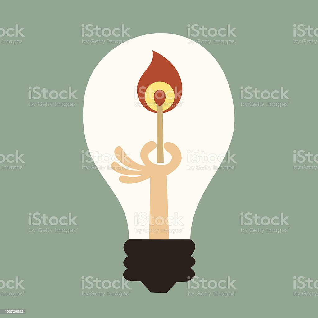 Light bulb with a match royalty-free stock vector art