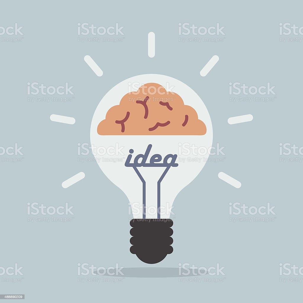Light bulb with brain, Idea concept vector art illustration