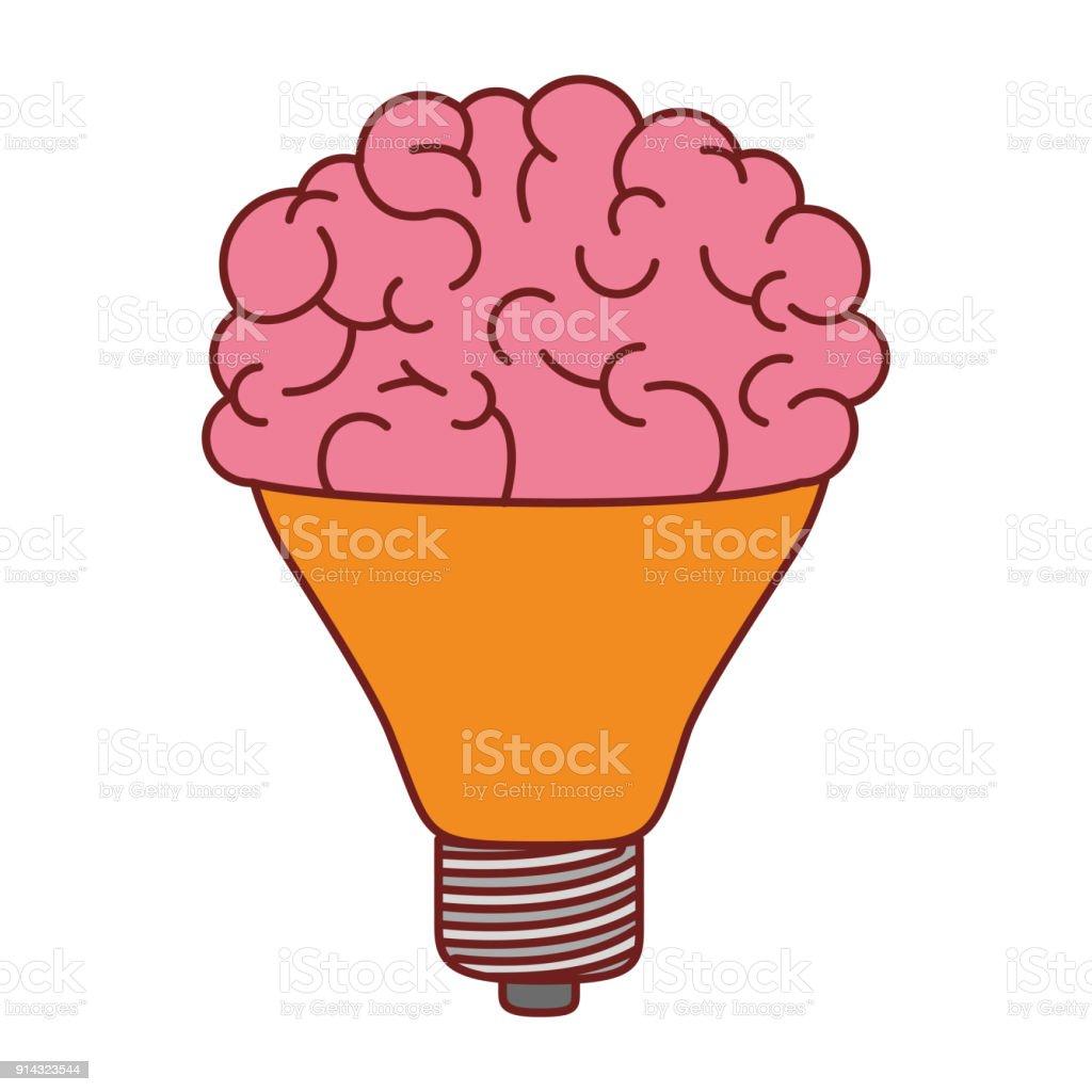 Bombilla Con Cerebro En La Parte Superior De Colores Silueta ...