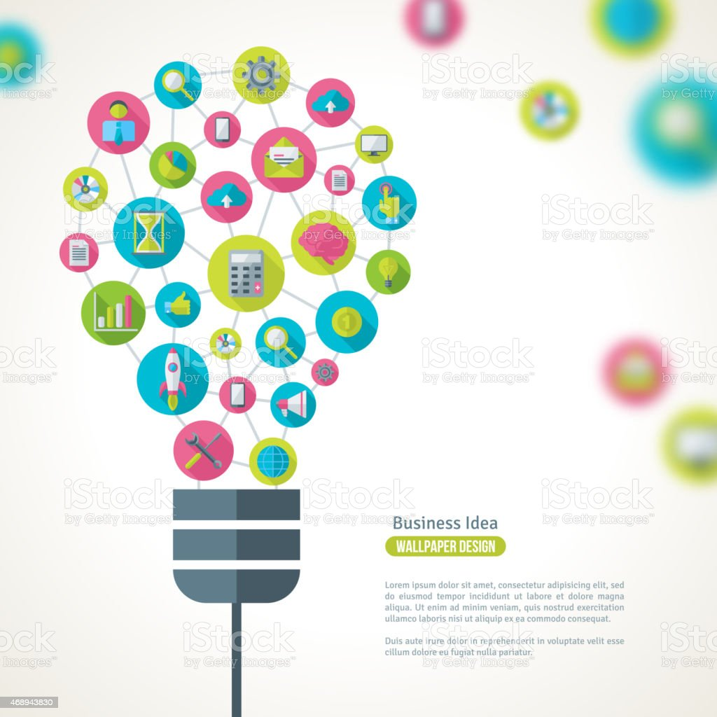 Light Bulb with Business Icons Pattern. vector art illustration