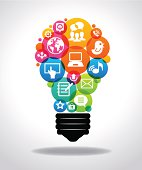 Light bulb with colorful Social Media icons