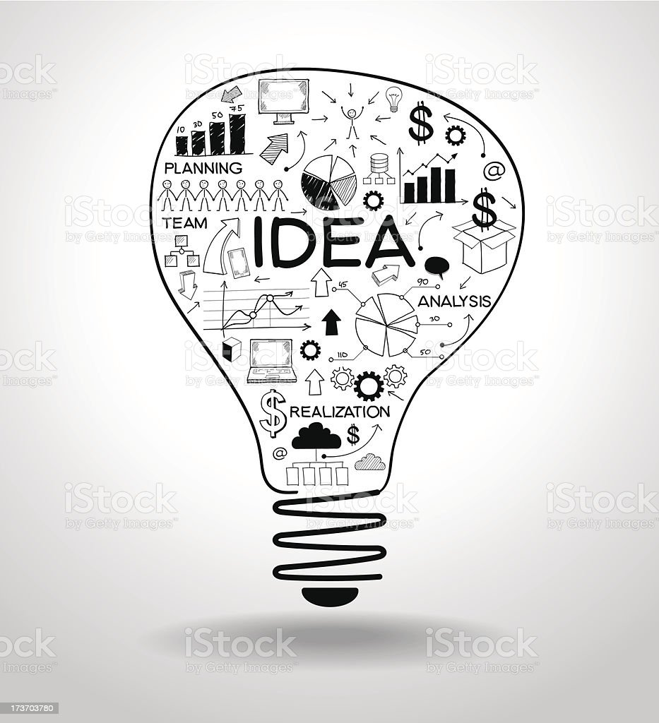 light bulb with drawing business concept vector art illustration