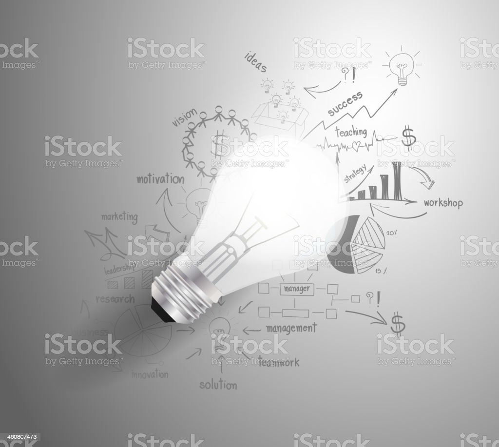 Light bulb with drawing business success strategy plan idea vector art illustration
