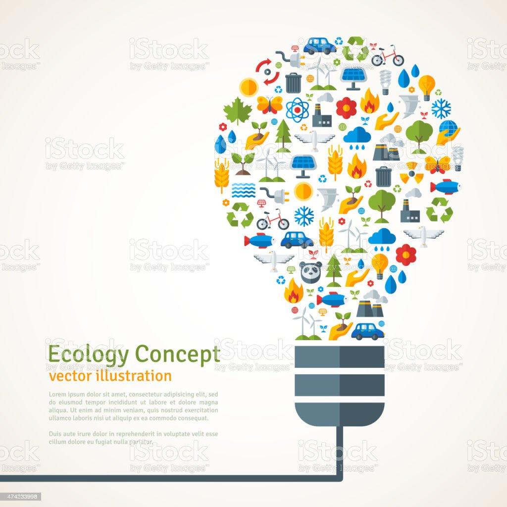 Ampoule avec des icônes de l'écologie motif.   Illustration vectorielle. - Illustration vectorielle