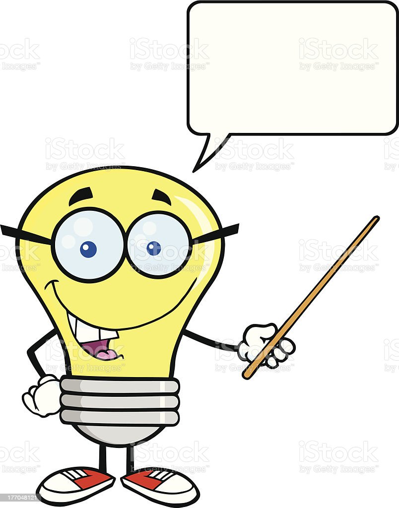 Light Bulb With Glasses Holding A Pointer And Speech Bubble royalty-free stock vector art