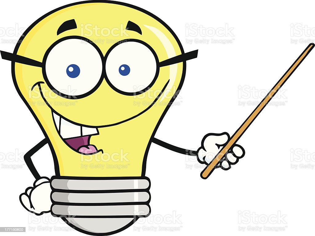 Charming Light Bulb With Glasses Holding A Pointer Clip Art, Vector Images U0026  Illustrations