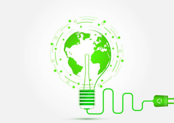 Ampoule avec illustration vectorielle de notion d'économie d'énergie, l'écologie et la terre verte - Illustration vectorielle