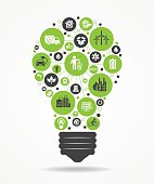 Light bulb with green eco icons..