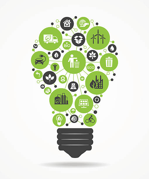light bulb with green eco icons.. - energy saving stock illustrations, clip art, cartoons, & icons