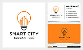 Light Bulb with line art Building Logo Design, Smart City, Real estate, architecture Vector with business card template
