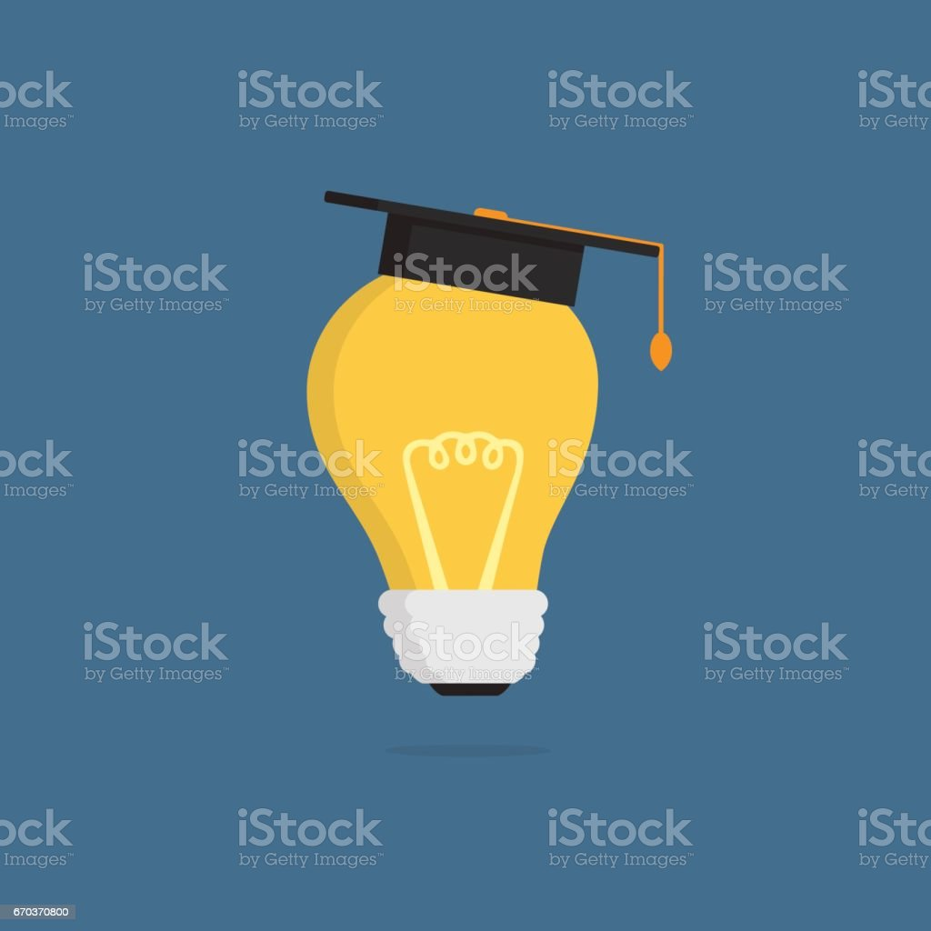 Light Bulb with mortar board vector art illustration