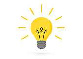 istock Light bulb with rays. Lighting Electric lamp. Creative idea, solution, thinking concept 1149246206