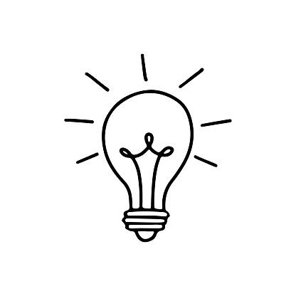 Light bulb with rays shine. Energy and idea symbol isolated on white background.