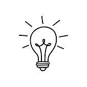 istock Light bulb with rays shine. Energy and idea symbol isolated on white background. 1266718523