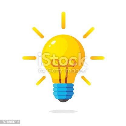 istock Light bulb with rays shine 801889226