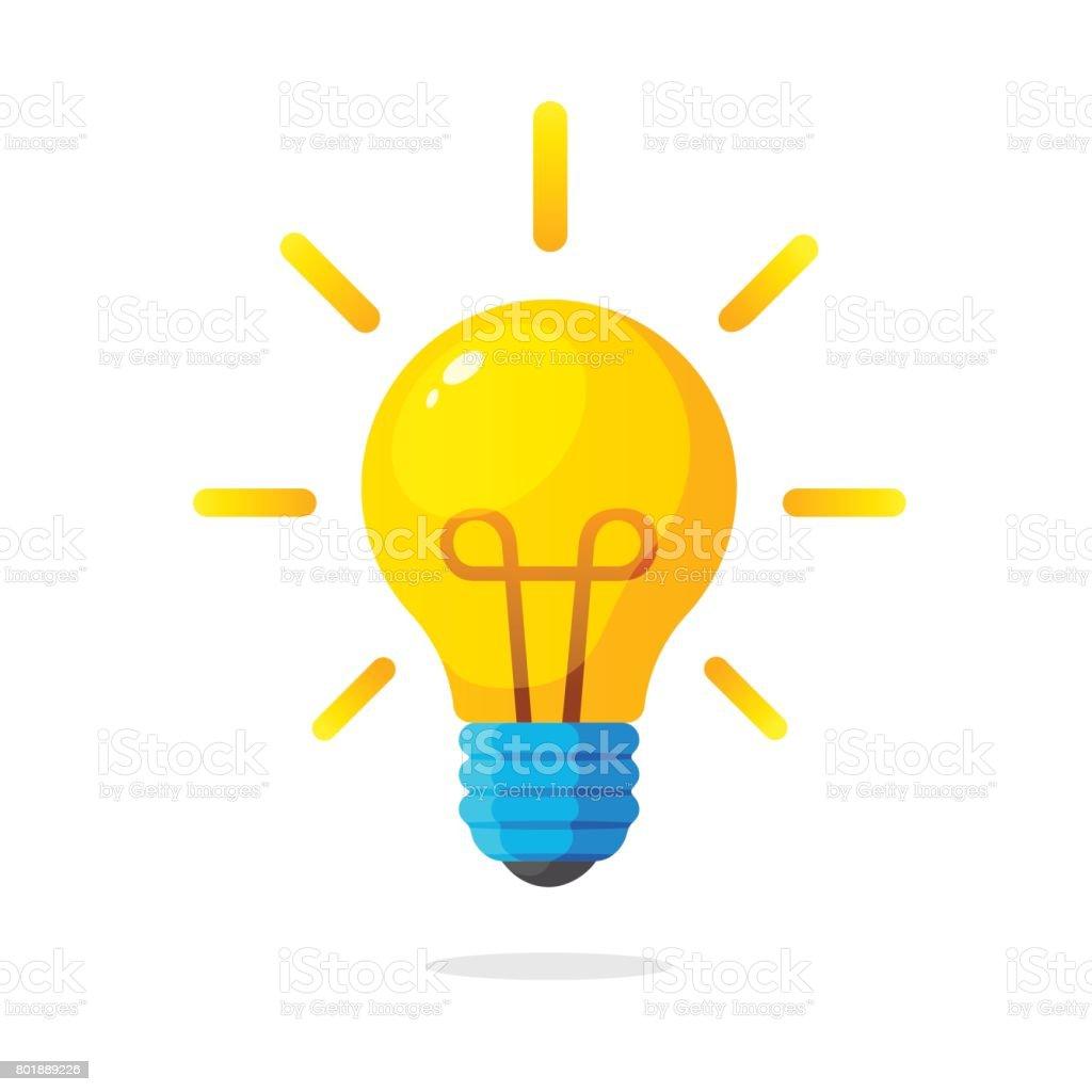 Bombilla de luz con el brillo de los rayos - ilustración de arte vectorial