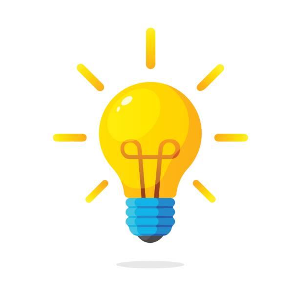 bildbanksillustrationer, clip art samt tecknat material och ikoner med glödlampa med strålar glans - idé