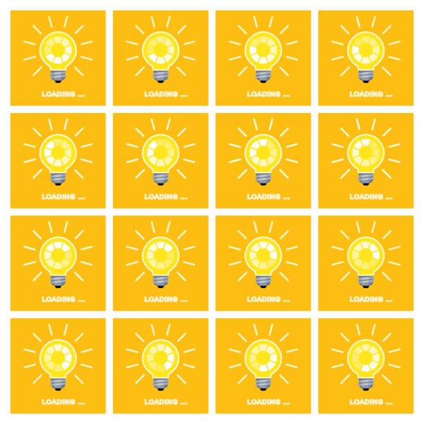 bildbanksillustrationer, clip art samt tecknat material och ikoner med glödlampa med roterande preloader inuti animation sprite sheet på gul bakgrund - changing bulb led