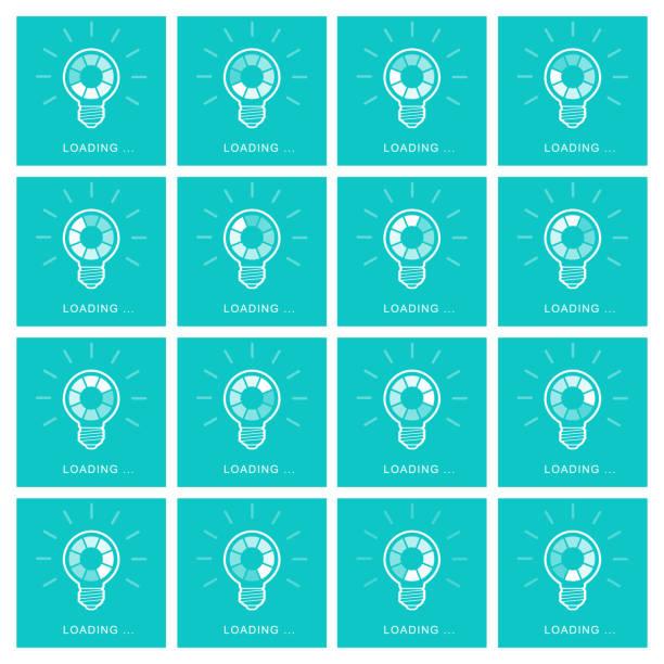 bildbanksillustrationer, clip art samt tecknat material och ikoner med glödlampa med roterande preloader inuti animation sprite sheet på blå bakgrund - changing bulb led