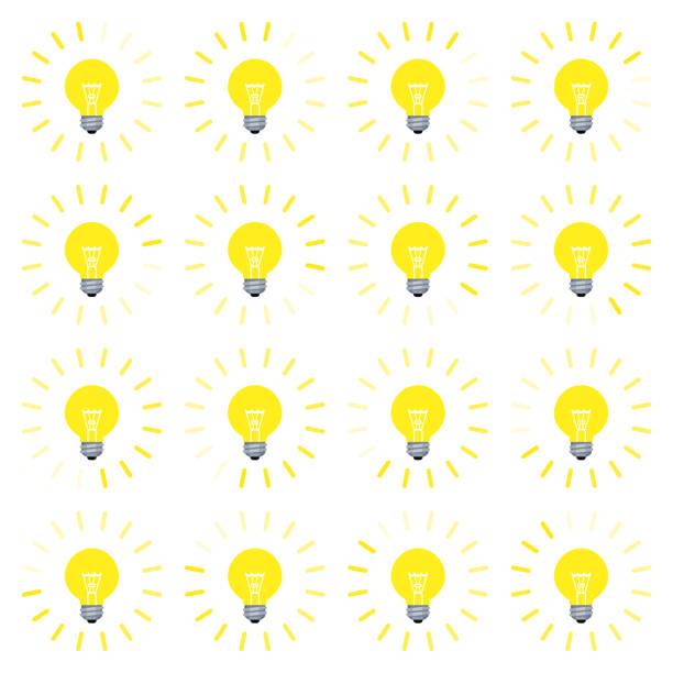 bildbanksillustrationer, clip art samt tecknat material och ikoner med glödlampa med roterande strålar animation sprite sheet i platt stil isolerad på vitt - changing bulb led