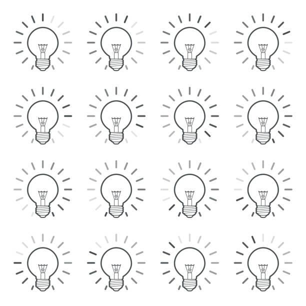 bildbanksillustrationer, clip art samt tecknat material och ikoner med glödlampa med roterande strålar animation sprite sheet i linjär stil isolerad på vitt - changing bulb led