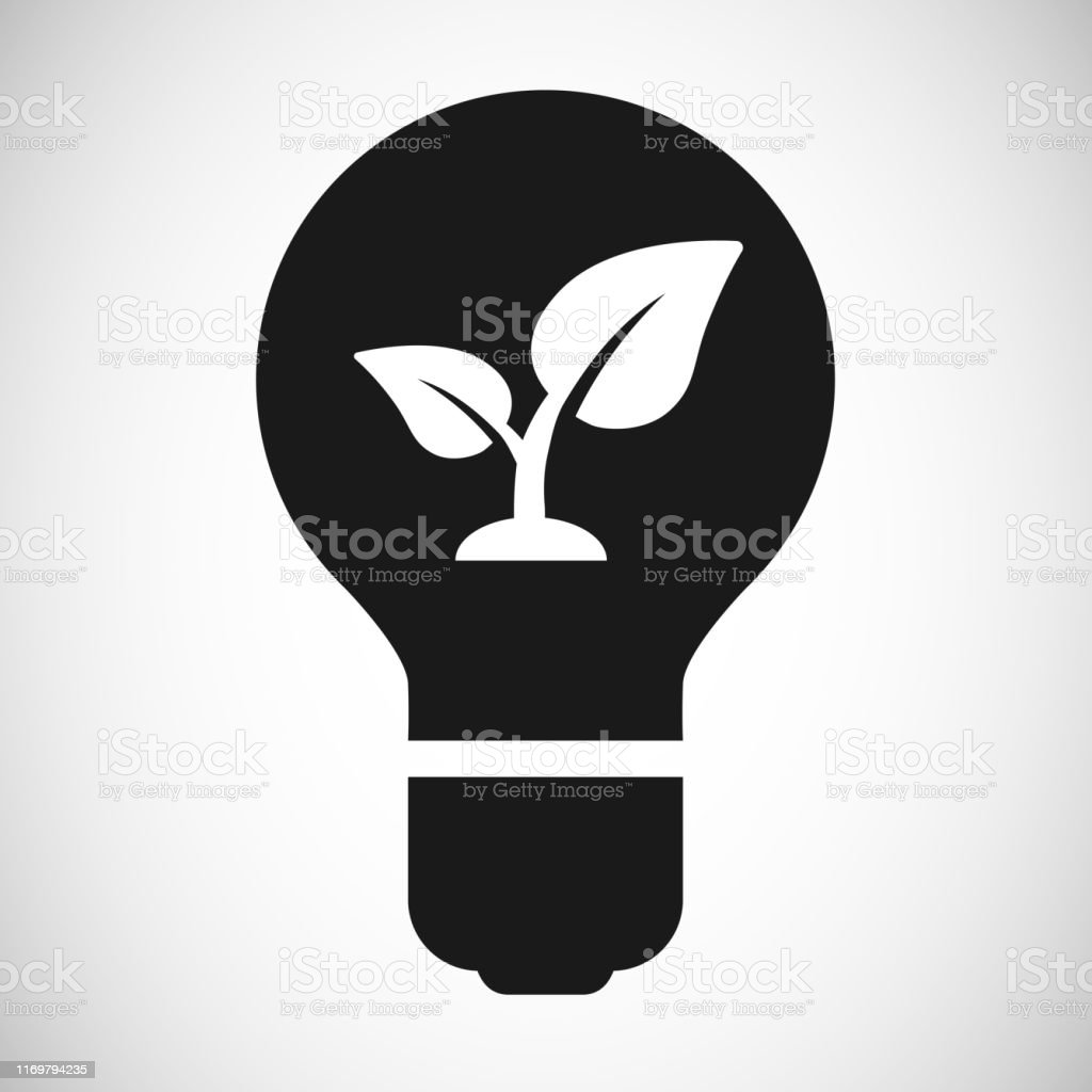 Light bulb icon with seedling leaves eco symbol
