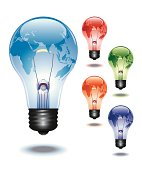 Light Bulb with superimposed World Map of Africa, Europe and Asia. Light Bulb comes in Blue, Red, Green, Orange and Purple. Download Includes: High Resolution JPG, Illustrator 0.8 EPS, CS2 AI & EPS. Please check out more of my stock illustrations and photos at: http://www.istockphoto.com/portfolio/phi2.