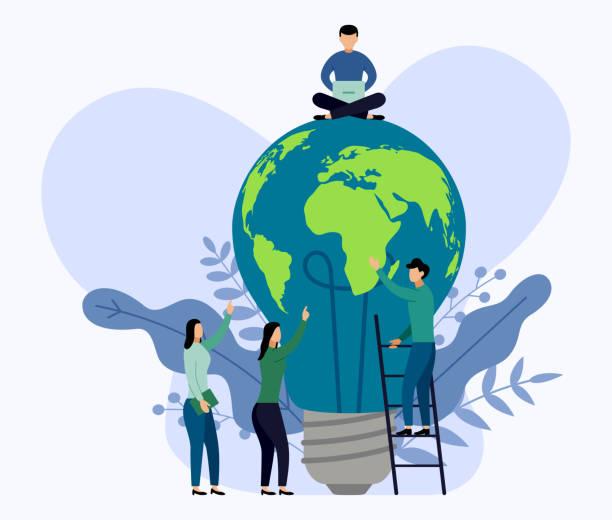 ilustrações de stock, clip art, desenhos animados e ícones de light bulb world map, eco friendly concept, vector illustration - alter do chão