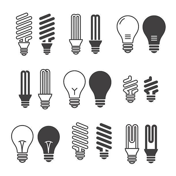 Light bulbs. Bulb icon set. Isolated on white background. Electr Light bulbs. Bulb icon set. Isolated on white background. Electricity saving energy efficient lightbulb stock illustrations