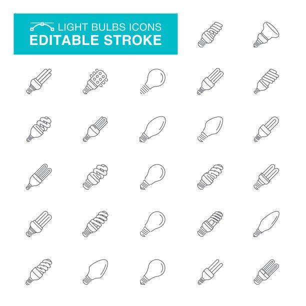 Light Bulbs Editable Stroke Icons Light Bulb, Lighting Equipment, Electric Lamp, Fluorescent Light, Editable Stroke Icon Set energy efficient lightbulb stock illustrations