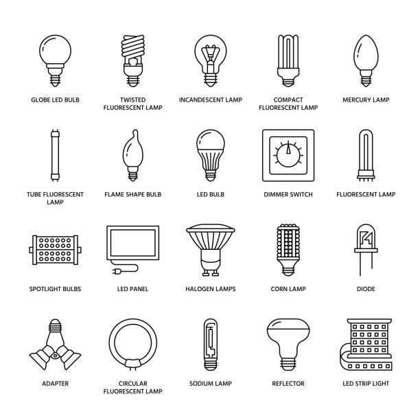 라이트 전구 플랫 라인 아이콘입니다. led 램프, 형광, 필 라 멘 트, 할로겐, 다이오드 유형과 다른 조명. 아이디어 개념, 전기 상점에 대 한 얇은 선형 표지판 - 형광 stock illustrations