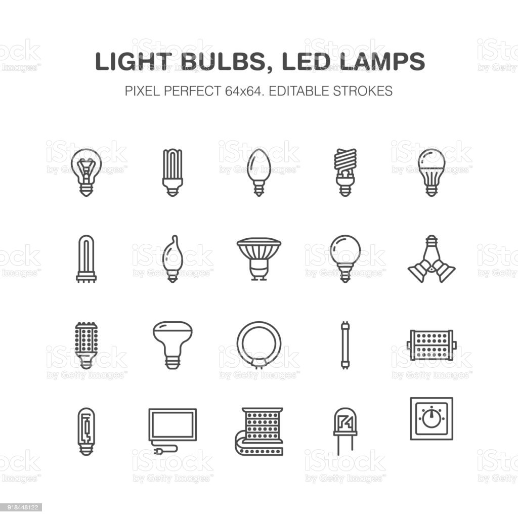 Light Bulbs Flat Line Icons Led Lamps Types Fluorescent Filament