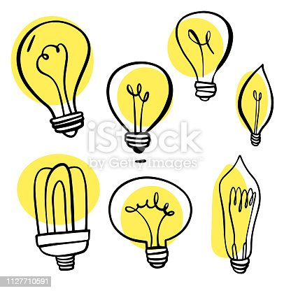 Vector illustration of a collection of hand drawn light bulbs with bright colors.