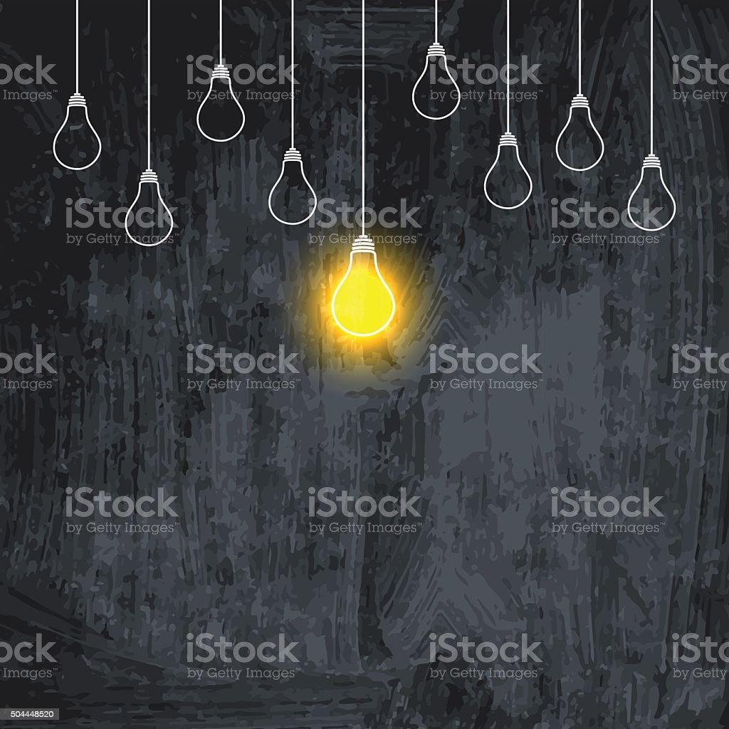 電球垂れ下がるダウンイラスト背景に暗い黒板 - アイデアのベクター