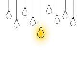 Light bulbs hanging down illustration on white background.