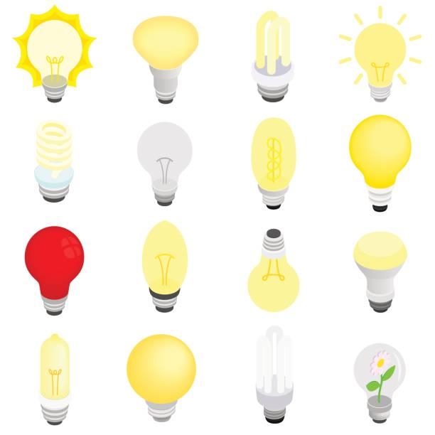 Glühbirnen-Symbole, isometrischen 3d Stil – Vektorgrafik