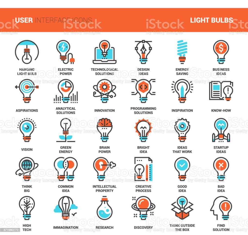 Light bulbs icons vector art illustration