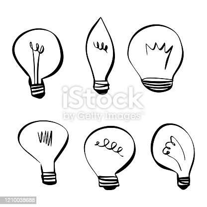 Vector illustration of a collection of light bulbs designs in a cartoonish style. Cut out design elements for social media, online messaging, brainstorming and planning, marketing, meetings and presentations, teamwork, ideas and concepts, electric, power and environmental issues, energy savings and economics.