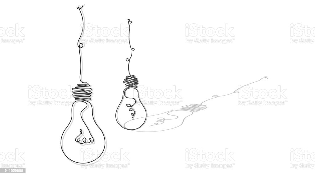 light bulbs, in the style of a soft, continuous line in the form of wire