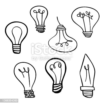 Vector illustration of a collection of light bulbs designs in a cartoon style. Cut out design elements for social media, online messaging, brainstorming and planning, marketing, meetings and presentations, teamwork, ideas and concepts, electric, power and environmental issues, energy savings and economics.