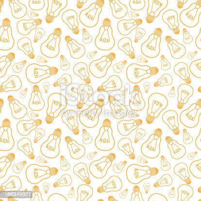 Vector light bulbs line art seamless pattern background with hand drawn elelements.