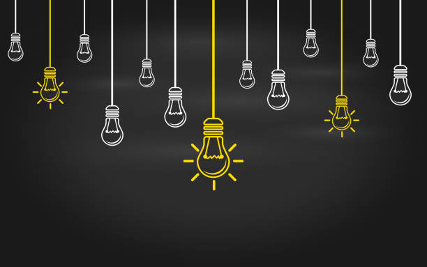Light bulbs on a blackboard background. Light bulbs on a blackboard background. Creativity concept with innovation or inspiration in global business, thinking outside the box. Business strategy in startup. New leaderships on teamwork. brainstorming stock illustrations