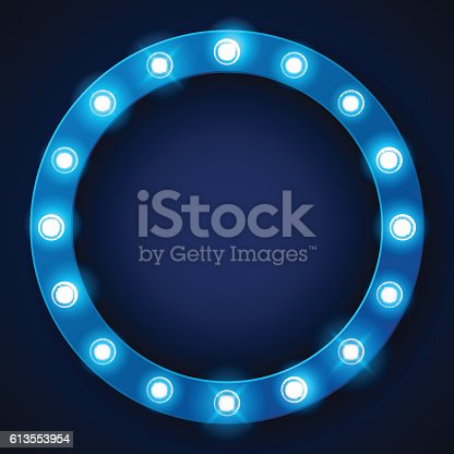 istock Light bulbs on retro banner with space for text 613553954