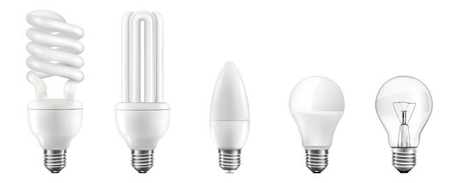 Light bulbs realistic 3D vector illustrations set. Different lightbulb types with various shapes isolated on white background. Halogen, led, incandescent, energy saving and CFL lamps. Modern illumination