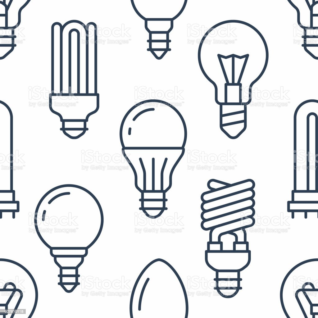 Glühbirnen Musterdesign Mit Flache Linie Symbole Led Lampentypen ...