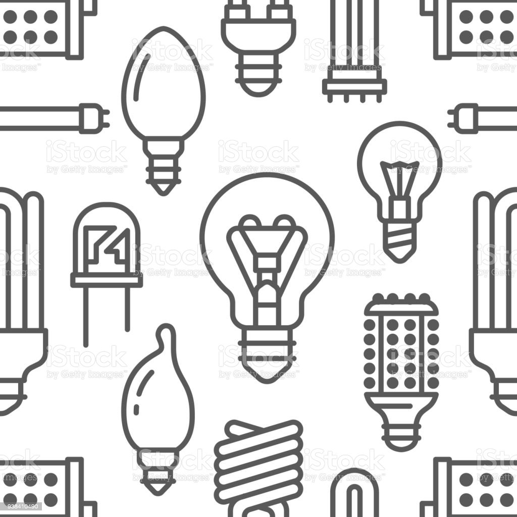 Light Bulbs Seamless Pattern With Flat Line Icons. Led Lamps Types,  Fluorescent, Filament