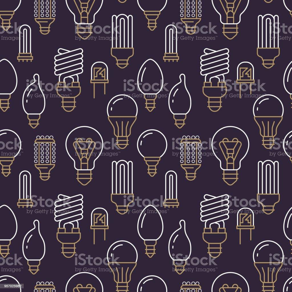 Déclairage Ampoules Plate Icônes Ligne Transparente Types Avec Motif ZOTwXukiP