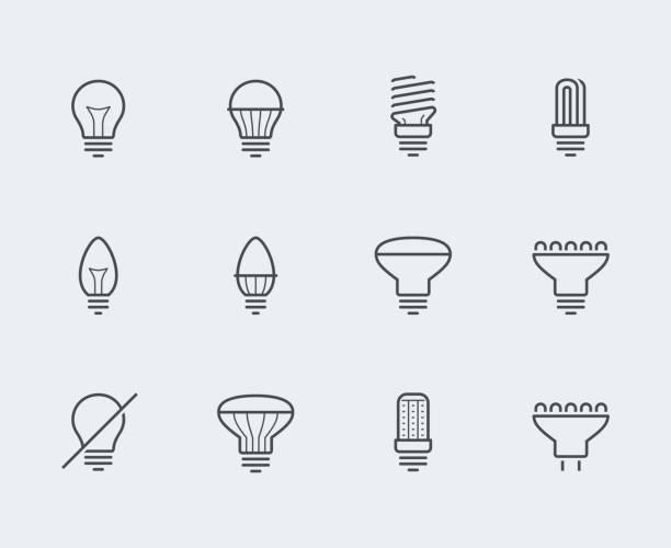glühbirnen vektor icon legen sie in dünne linienstil - led stock-grafiken, -clipart, -cartoons und -symbole