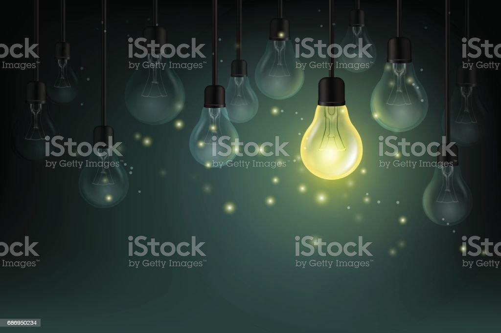 Light bulbs with fireflies on the dark background. Idea concept vector illustration. vector art illustration