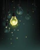 Light bulbs with fireflies on the dark background. Idea concept vector illustration.